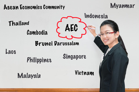 aec: Asian Woman teacher writing AEC and member wording in whiteboard