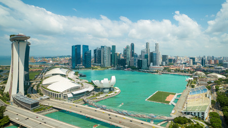 merlion: Aerial view of marina bay in Singapore city with nice sky Editorial