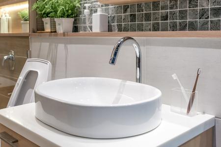 Washbasin with decoration in bathroom