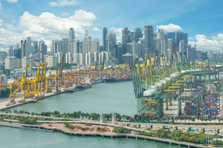 custom: Singapore cargo terminal,one of the busiest ports in the world, Singapore. Editorial