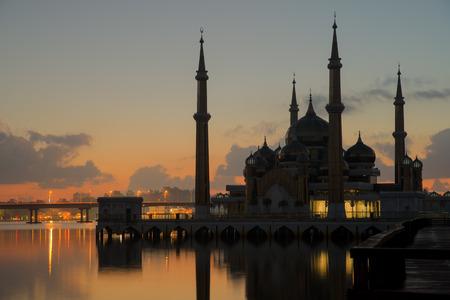 islamic prayer: Morning view of crystal mosque in Kuala Terengganu, Malaysia