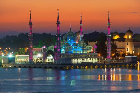 terengganu: Evening view of crystal mosque in Kuala Terengganu, Malaysia Stock Photo