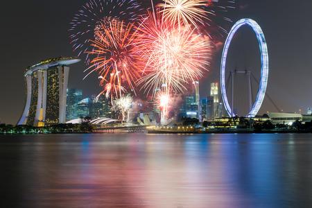 singapore cityscape: Singapore national day fireworks celebration