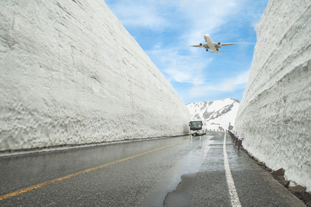 Airplane flying over Tateyama Kurobe Alpine Route, Toyama Prefecture, Japan