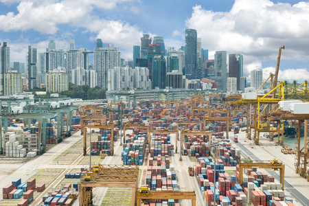 overhead crane: Panoramic top view on Singapore harbor with Singapore city background