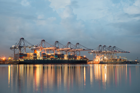 dockside: Singapore cargo terminal,one of the busiest ports in the world, Singapore. Stock Photo