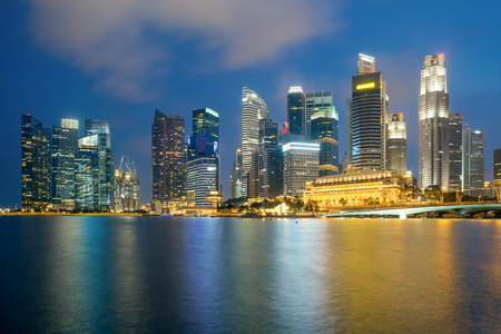 marina life: Singapore city in downtown district in night