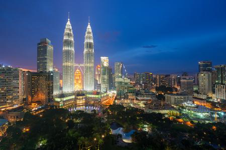 Kuala lumpur skyscraper at night in Malaysia. Kuala lumpur urban skyline, Malaysia. Kuala lumpur is capital city of Malaysia