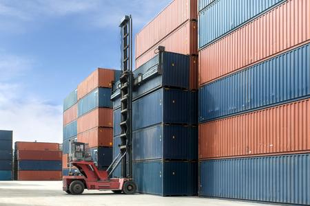 container box: Import, Export, Logistics concept - Crane lift up container box loading to container depot use for cargo import, export, logistics background.