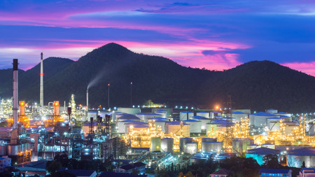 Industry concept - Oil refinery industry at night. Oil refinery industry in Chonburi, Thailand. Landscape of industry estate in Thailand. Editorial