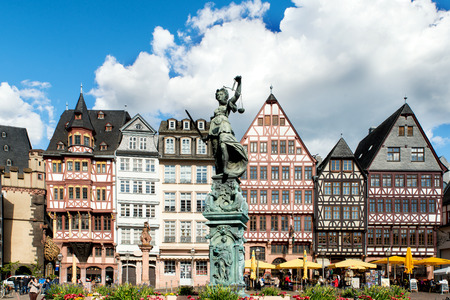 square image: Image of Frankfurt, Germany - old town square romerberg with Justitia statue in Frankfurt, Germany. Frankfurt is the largest city in the Germany state of Hesse