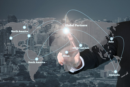 Businessman working with virtual interface global partners graphic use for logistic,import,export background.Global partners network.