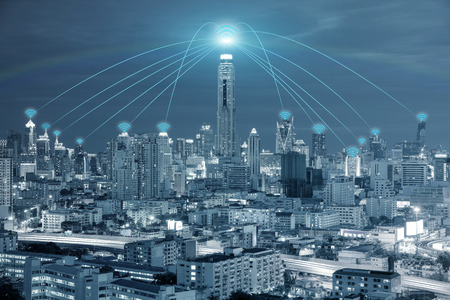 network concept: Technology, Network and Conection concept - Wifi network connection in center business district use for wifi network connection background.