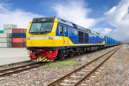 freight train: Import, Export, Logistics concept - Cargo train platform with freight train container at depot use for Import, Export, Logistics background