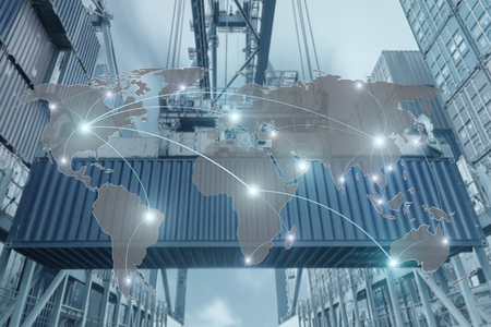 Export, Import, Logistik-Konzept - Karte globaler Partner Verbindung von Containerfrachtfrachtschiffes für die Logistik Import Export Hintergrund Standard-Bild