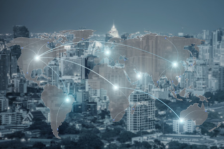 skyscraper skyscrapers: Networking concept - Network and world map on blur city use for global network partners background.(Elements of this image furnished by NASA)