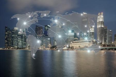 Netzwerk und Weltkarte auf Blur Stadt für Hintergrund globale Netzwerkpartner. Standard-Bild - 60355068