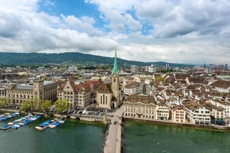 grossmunster cathedral: Aerial view of Zurich old town along Limmat river, Zurich, Switzerland.