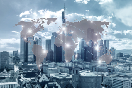 Networking concept - Network and world map on blur city use for global network partners background.