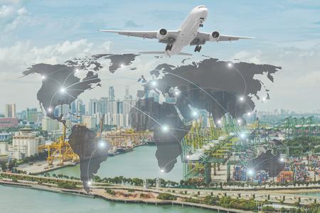 comercio: concepto de Importación, Exportación, Logística - Mapa conexión de socio global de la nave de la carga de carga del envase para el fondo Logística Importación y Exportación