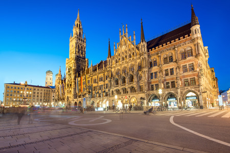 Night panorama of Marienplatz and Munich city hall in Munich, Germany.