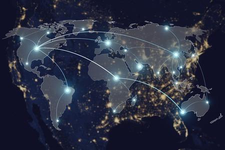 Tecnologia di rete collegamento concetto - associazione di connessione di rete e mappa del mondo. Elementi di questa immagine fornita dalla NASA Archivio Fotografico - 60355007