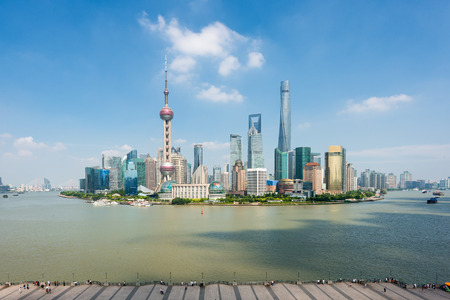 Shanghai skyline in Lujiazui Pudong business center district at Shanghai, China.