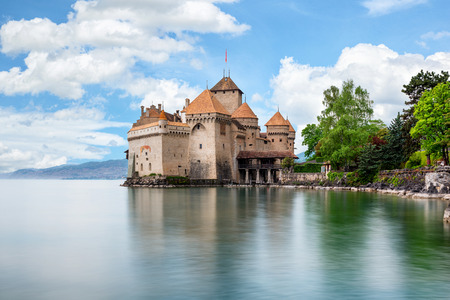 chillon: Beautiful view of famous Chateau de Chillon at Lake Geneva, one of Switzerlands major tourist attractions and most visited castles in Europe, Canton of Montreux, Switzerland
