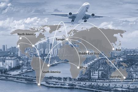 Mapa połączeń wirtualnych połączeń globalnego połączenia partnerów do logistyki, importu, eksport tła. (Elementy tego obrazu dostarczone przez NASA)