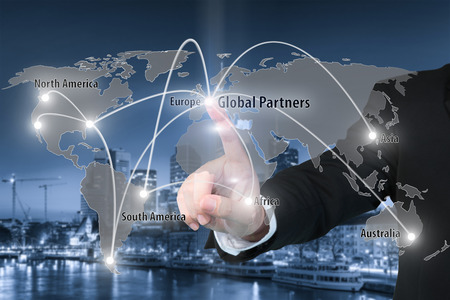 forwarding agency: Businessman working with virtual interface connection map of global partner connection use for logistic,import,export background.