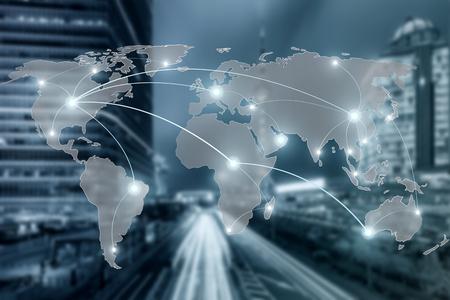 Netz- und Weltkarte auf Unschärfestadtgebrauch für globales Partnerschaftsnetzwerkonzept, Elemente dieses Bildes geliefert von der NASA Standard-Bild - 64302276