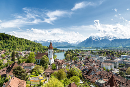sight seeing: The historic city of Thun, in the canton of Bern in Switzerland.
