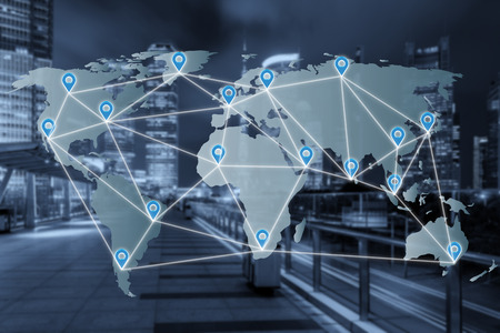 Map pin flat network above world map with network connection partnership line. Network connection partnership concept.