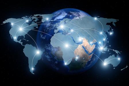 ネットワーク接続のパートナーシップは、世界地図。ネットワーク接続技術概念 (NASA から提供されたこのイメージの要素)。