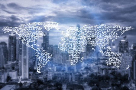 Network connection partnership and world map with city in background.Network connection technology concept