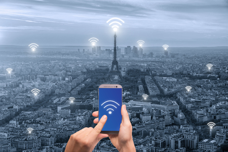 wireless connection: Wifi icon and Paris city with network connection concept, Paris smart city and wireless communication network, abstract image visual, internet of things.