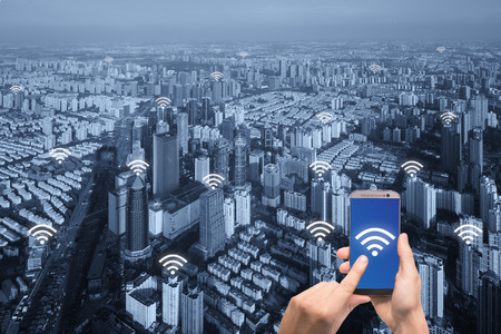 wireless connection: Free internet icon and Paris city with network connection concept, Shanghai smart city and wireless communication network, abstract image visual, internet of things. Stock Photo