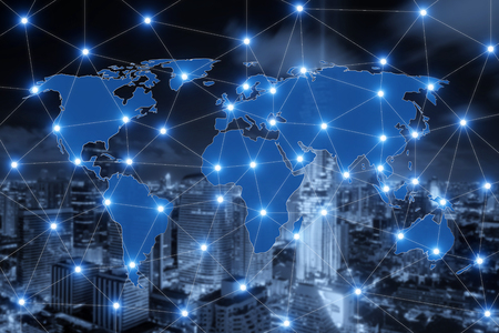 concep: World map connection and blurred city of business centre. Technology and network connection concep. Stock Photo