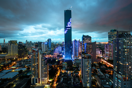silom: Bangkok city skyline, Mahanakhon skyscraper tower is tallest buildings in Thailand, Silom area, Bangkok Thailand