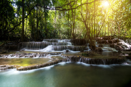 sua: Dong Pee Sua Waterfall, Huay Mae Khamin 4th waterfall in Kanchanaburi, Thailand Stock Photo