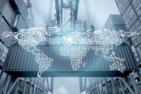 Netwerkverbinding partnerschap logistiek en wereldkaart met poort in de achtergrond. Netwerkverbinding logistiek technologie concept (Elementen van deze afbeelding ingericht door NASA)