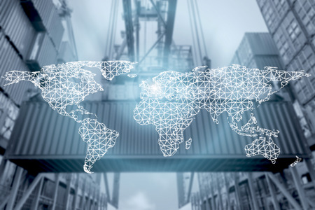 Network connection partnership logistics and world map with port in background.Network connection logistics technology concept (Elements of this image furnished by NASA) Standard-Bild