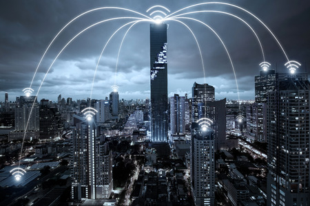 Wifi network connection in city center business district. Wifi connection technology concept Stock Photo