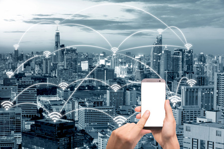 Wifi icon and Bangkok city with network connection concept, Shanghai smart city and wireless communication network, abstract image visual, internet of things.