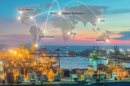 Mapa conexión de la asociación global de la logística de la nave de la carga de carga del envase para el fondo Logística Importación y Exportación, el transporte de la red global de logística del transporte marítimo