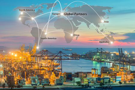 Map global logistics partnership connection of Container Cargo freight ship for Logistics Import Export background, Global logistics network transportation maritime shipping Foto de archivo