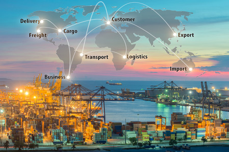 Map global logistics partnership connection of Container Cargo freight ship for Logistics Import Export background, Global logistics network transportation maritime shipping Banco de Imagens