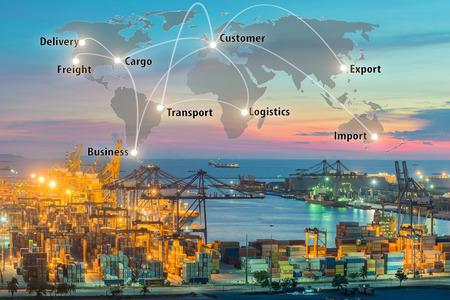 Mapa conexión de la asociación global de la logística de la nave de la carga de carga del envase para el fondo Logística Importación y Exportación, el transporte de la red global de logística del transporte marítimo Foto de archivo - 66155778
