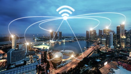 Singapore smart city and wifi communication network, smart city and network connection concept Banco de Imagens