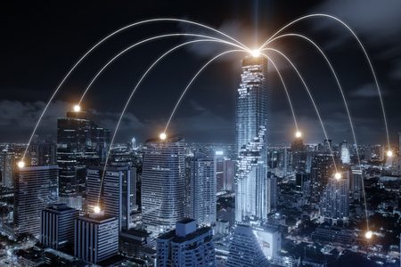 Network business conection system on Bangkok city in background. Network business conection concept 스톡 콘텐츠